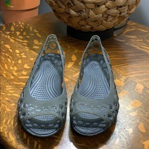 Crocs gray slip ons
